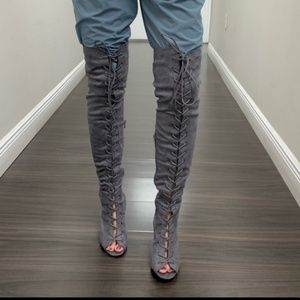 Shoes - Grey thigh high lace up block heel boots NWT